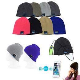 Wholesale Headphones Plain - 1PC free Men Women Soft Winter Beanie Hats Wireless Bluetooth Smart Cap Headphone Headset Speaker Mic Headgear Knitted Cap More Colour