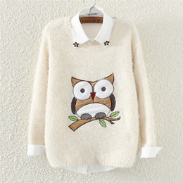 Wholesale Owl Woman Sweater - 2015 New Fashion Autumn Winter O-Neck Knitted Sweater Long Sleeve Loose Casual Women Pullover Owl Printed Knitwear Outwear C1697