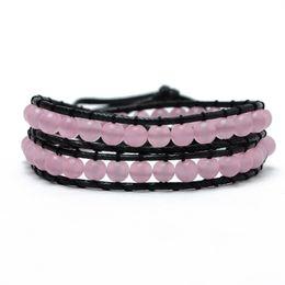 Wholesale Pink Slap Bracelet - 2015 Handmade Vintage Weaving Leather Wrap Bracelet for Women Jewelry Pink Natural Opal Resin Turquoise Bead Women Bracelet