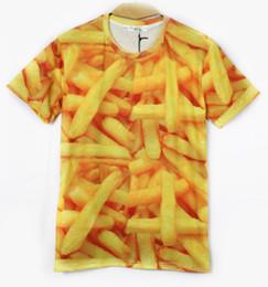 2014 verano impresión 3d superior venta al por mayor mujeres hombres lindos sexy camiseta calle debajo de la camiseta camisetas papas fritas activista de comida rápida oro desde fabricantes