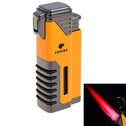 Wholesale New Gas Cigarette - New Arrival Wholesale COHIBA Accessories Pocket Quality Metal Butane Gas Windproof 4 Torch Jet Flame Lighter