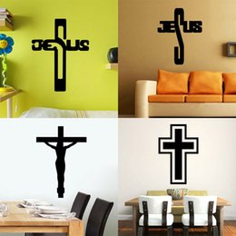 Wholesale Abstract Jesus - 4 styles mixed Removable Art Cross Jesus God Christian PVC Decal Wall Sticker Mural Home Living Room Bedroom Decor hot sale