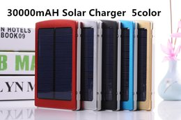 Wholesale Cellphone Power Pack - 30000mAH Solar Charger 2 Port External Battery Pack For Cellphone iPhone 4 4s 5 5S 5C Samsung Portable Power Bank