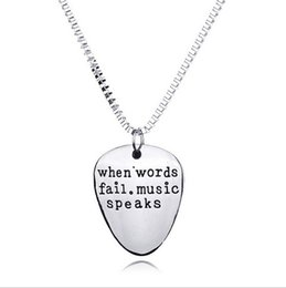 "Wholesale Alloy Spokes - ""when words fail music speaks"" Hot Unique Charming Letter Pendant Necklace Personalized Sister Lovers Friend Friendship Jewelry"