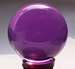Wholesale Natural Crystal Ball Stands - Jade carving Asian Rare Natural Quartz purple Magic Crystal Healing Ball Sphere 80mm+Stand