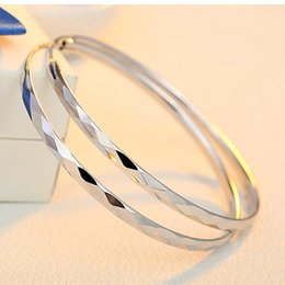 Wholesale Big Fashionable Earrings - Wholesale- REAL 925 STERLING SILVER BIG HOOP EARRINGS SHIINNG BRIGHT FASHIONABLE BANGLES FOR WOMAN GIRLS 30 40 50 60MM