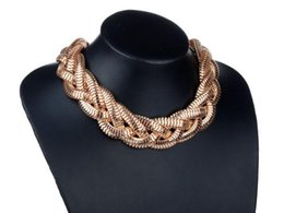 Wholesale Trendy Luxury Collar - Trendy Fashion Chunky Gold Plated Twisted Braided Chain Bib Collar Necklace Luxury Choker Statement Jewelry Wholesale 8Pcs