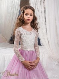 Wholesale Cute Girl Image New - New Coming Jewel Long Sleeves Lace Appliques Ball Gown Sweep Train Bow Cute Beautiful Wedding Dresses Flower Girl Dresses