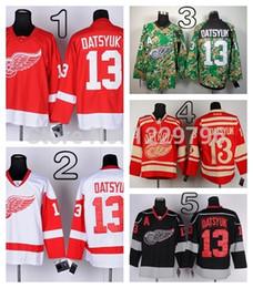 2014 Inverno Clássico Detroit Red Wings Pavel Datsyuk Camisas De Hóquei Em Casa Vermelho Branco Barato Pavel Datsyuk Costurado Jersey M-XXXL de