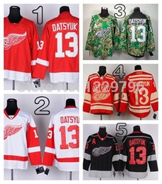 2014 Inverno Classic Detroit Red Wings Pavel Datsyuk Hockey maglie casa Rosso Bianco economici Pavel Datsyuk cucita Jersey M-XXXL da