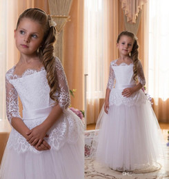 Wholesale Little Girl Princess Ball Gowns - Flower Girl Dress Little Girl Formal Dresses Princess Gown 2016 Ball Gown Square Sash Tulle Short Cap Sleeve