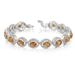 Wholesale Natural Yellow Citrine Crystals - Citrine bracelet 925 sterling silver chain bracelet Natural original citrine Fine yellow crystal Perfect Jewelry Free shipping #DH-150632619