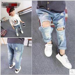 Wholesale Korean Boys Fashion Clothes - Fashion Kids Boys Denim Pants Baby Boy Wash Blue Hallow Out Jeans 2016 Babies Korean Style Wholesale Clothing Boy Clothes