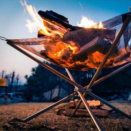 Wholesale Portable Gas Camping Stove - Outdoor Fire Burn Pit Stander Portable Solid Fuel Rack Folding Stove Fire Frame Fast Heating Wood Charcoal Stove Camping Tool