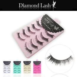 Wholesale diamond lashes - 5 pairs Long Thick Black Crisscross Japanese Diamond Lash False Eyelashes Fake Eye Lashes Makeup 5 Packing box for choices