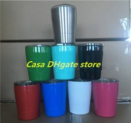 Wholesale Mugs For Kids - 9oz Wine Cup Wine Mugs with lids straws Insulated Tumbler Stainless Steel Wine Glasses mug for kids students mugs with straw 9 colors