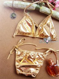 Wholesale Leather Micro Bikini - 151204 2015 Women Micro Leather Bikini Sexy Brasil Silver Gold Red 2 Pieces Maillot De Bain Bathing Suit Swimsuits Swimwear Bikini