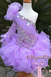 Wholesale Unique Toddler Pageant Dresses - Lavander 2015 Baby Pageant Dresses Unique Crystal Beading One Long Sleeves Lace Organza Fabric Cheap Pageant Dresses For Girls