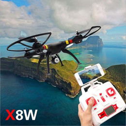 Wholesale Smart Phone Controlled Helicopters - Syma X8W Camera Drone RC Helicopter Wifi FPV Real-Time Quadcopter with 2MP Camera SD Card Smart Phone Wifi Control VS X8C