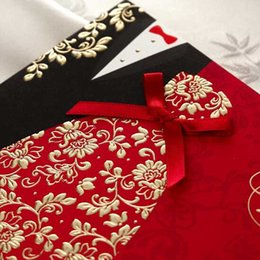 Wholesale Black Red Invitations - Wholesale- 2016 new (10 pieces lot) Classic Bride And Groom Wedding Invitation Cards Red And Black Chinese Style Wedding Invitation Cards