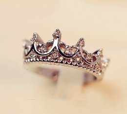 Wholesale Woodwork Wholesalers - Crown Ring Palace Restoring Ancient Ways The Queen's Temperament Woodwork Tail Silver Rings For Women