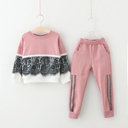 Wholesale Sports Shirts Collar - Children Clothes 2017 Autumn Winter Girls Clothes T-shirt+Pant 2pcs Christmas Outfit Kids Sport Suit For Girls Clothing Sets