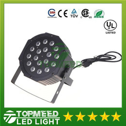 Wholesale Led Auto Lights - DHL Big Led stage light 18x3W 54W 85-265V High Power RGB Par Lighting With DMX 512 Master Slave Led Flat DJ Auto-Controller 44