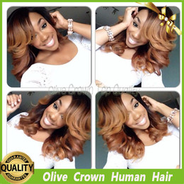 Wholesale Ombre Tie - Ombre Virgin Brazilian Hair Body Wave Full Lace Wigs Unprocessed T#1b #30 Short Wavy Glueless Lace Front Wig With Bangs