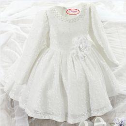 Wholesale Gown For Korean Princess - 2016 Promotion Regular Bow Kids Dresses For Girls Korean Hot Girl's Clothes And Long Sleeved Dress Princess Flower Girl Tutu On