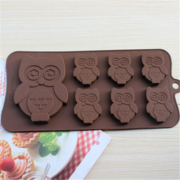 Wholesale Owl Silicone Mold - New Owl Fondant Cake Mold Kids Favor Cookie Mould Sturdy Cooking Tools Chocolate Tools BPA Free 5pcs lot DG040