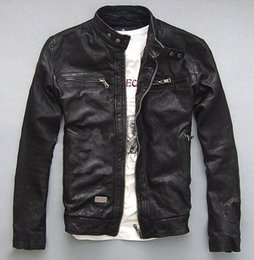 Wholesale Genuine Leather Man Jacket Biker - Fall-Factory Men's Genuine Leather Jacket For Men Real Matte Goat Skin Sheepskin Fashion Brand Black Motorcycle Biker Male Coat ZH031