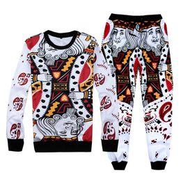 Wholesale Poker Fashion - Wholesale-[Mikeal] New Harajuku Poker printed 3D sweatsuit fashion tracksuit men joggers + hoodies men's 2 pieces sport track suits