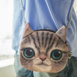 Wholesale 3d Vivid Bag - Kawaii Vivid Expressions 3D Cat Messenger Bag Shoulder Bag Chain Bag