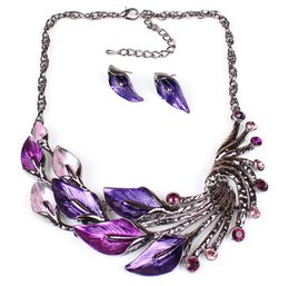 Wholesale Peacock Design Jewelry - Fashion Girl Women's Peacock feathers Design Enamel Crystal Leaves Leaf Necklace Stud Earrings Statement Necklace Jewelry set MN33