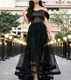 Wholesale Custom Size Glass - 2017 Black Prom Dresses Off the Shoulder Glass Crystals Beaded Tulle Satin Boned Bodice Short Front and Long Back Evening Gowns