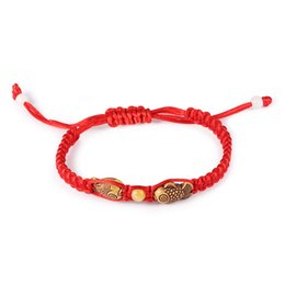 Wholesale Charity Bracelets - Adjustable Red String Bracelet with Fish Design Do Good Charity Bracelet The Animal Year Jewelry