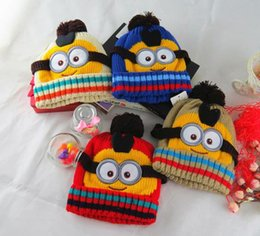 Wholesale Minions Hats For Kids - Novelty Kids Despicable Me Hat Minions Knitted Beanies Baby Hot Winter Warm Hats For Boys and Girls
