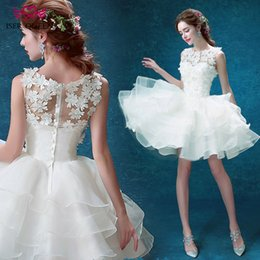 Wholesale Sexy Mini Beach Wedding Dress - ISER QUEEN 3D-Floral Appliques Simple Short Wedding Dress Plus Size Custom Made Appliques Beading Sheer Neck Beach Wedding Dresses WX0008
