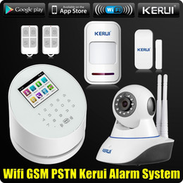 Wholesale Dual Pstn Gsm Wireless Alarm - KERUI W2 WiFi GSM PSTN Home Office Security Alarm System Android IOS APP Remote Control with Dual Antenna Wifi CCTV Camera