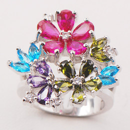 Wholesale Peridot 925 Ring - Garnet Amethyst Blue Topaz Peridot Women 925 Sterling Silver Ring F711 Size 6 7 8 9 10