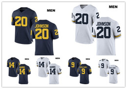 Wholesale People Football - Customized 9 Donovan Peoples-Jones Michigan Wolverines 14 Drake Harris 20 Drake Johnson Stitched College Football Custom White Navy Jerseys