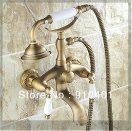 Wholesale Antique Brass Faucet Shower - Wholesale-Wholesale And Retail Promotin NEW Antique Brass Wall Mounted Clawfoot Shower  Bathroom Tub Mixer Faucet Shower emergi