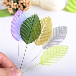 Wholesale Simulation Flower Pink - Wholesale-100 pcs lot Artificial leaves high simulation nylon stocking leaves  Wedding Gift Box Flower Accessories For DIY Scrapbooking