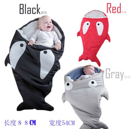 Wholesale Newborn Baby Envelopes - 1pcs shark sleeping bag Newborns sleeping bag Winter Strollers Bed Swaddle Blanket Wrap cute Bedding baby sleeping bag D6165