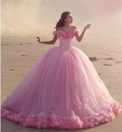Wholesale Cheap Short Red Quinceanera Dresses - 2016 New Arabic Quinceanera Ball Gown Dresses Puffy Off Shoulder Tulle Pink Flowers Cathedral Train Sweet 16 Cheap Party Prom Evening Gowns