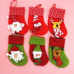 Wholesale Wholesale Decoration Different - New Arrival Christmas Decorations Fashion 2 Color 6 Different Pattern Christmas Stocking Festival Party Ornaments Mix Order