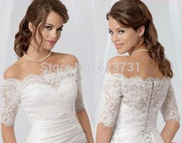 Wholesale Lace Bolero Button Back - 2016 Cheap Lace Bridal Shrug Shawl For Wedding Dresses Sexy Off Shoulder Appliques Button Covered Back Bolero Jackets Custom Made CPA430