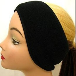 Wholesale Fleece Headband Black - Wholesale-Winter Popular Neutral Mens Womens Fleece Earband Stretchy Headband Earmuffs Ear Warmers Black Hot