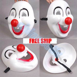 Wholesale Kids Clown Mask - adult kid Halloween Christmas mask party cartoon festival cosplay mask dance performances rigid plastic red nose clown mask props