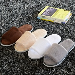 Wholesale Cloth Slippers - Soft Hotel SPA Non-disposable Slippers Velvet Colored 10mm Thick Sole Casual Terry Cotton Cloth Spa Slippers, One Size Fits Most